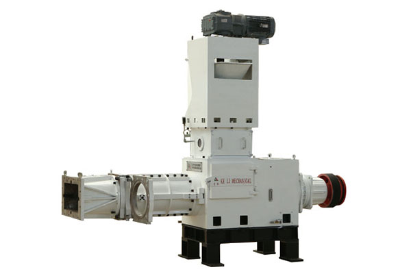 Vertical single screw vacuum extruder